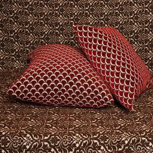 Μαξιλαροθήκη Σενίλ ανάγλυφη 45×45 Νυχάκι Μπορντώ [3535-201]