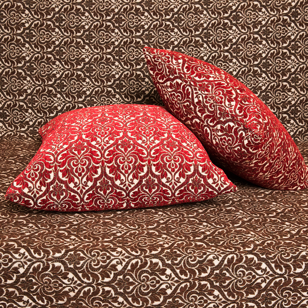 Μαξιλαροθήκη Σενίλ ανάγλυφη 50x50 Μπαρόκ Μπορντώ [1717-201]
