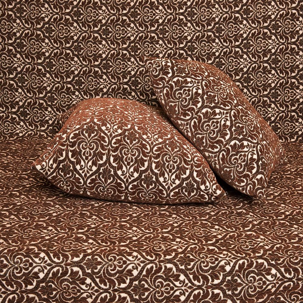 Μαξιλαροθήκη Σενίλ ανάγλυφη 50x50 Μπαρόκ Καφέ [1717-203]
